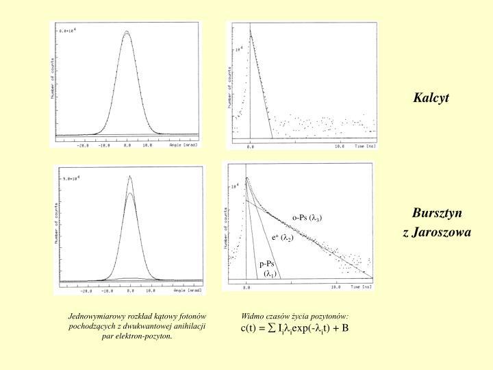 Jednowymiarowy rozkład kątowy fotonów pochodzących z dwukwantowej anihilacji par elektron‑pozyton.