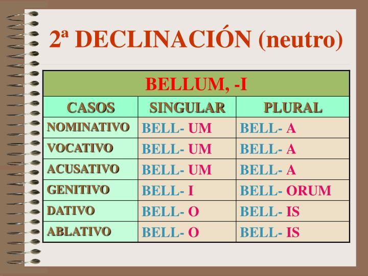 2ª DECLINACIÓN (neutro)