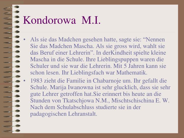 Kondorowa  M.I.