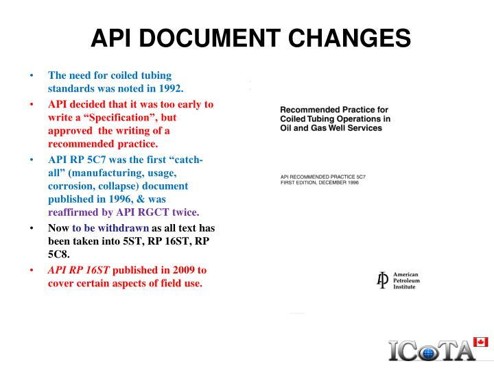 API DOCUMENT CHANGES