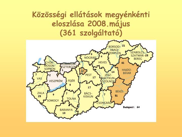 Kzssgi elltsok megynknti eloszlsa 2008.mjus