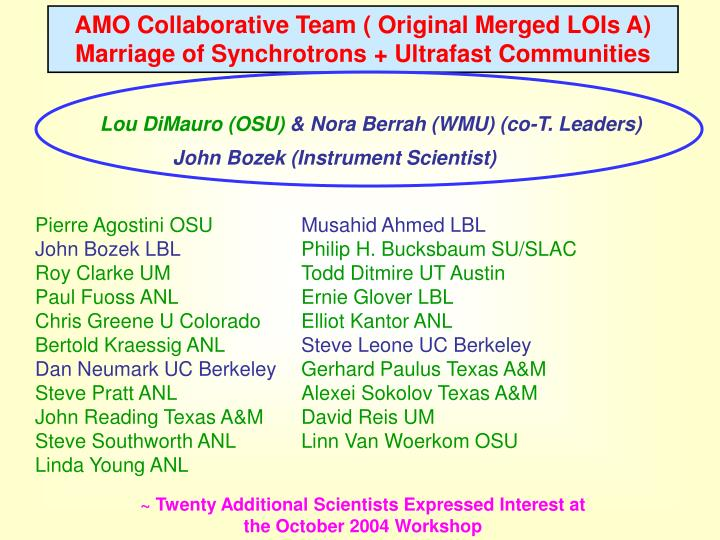 AMO Collaborative Team ( Original Merged LOIs A)