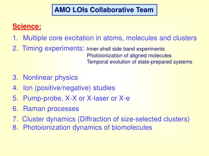 AMO LOIs Collaborative Team