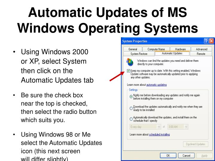 Automatic Updates of MS Windows Operating Systems