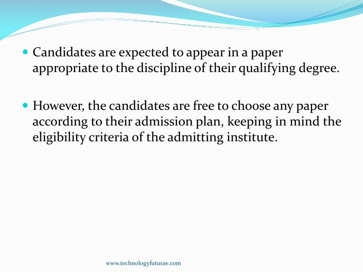 Candidates are expected to appear in a paper appropriate to the discipline of their qualifying degree.