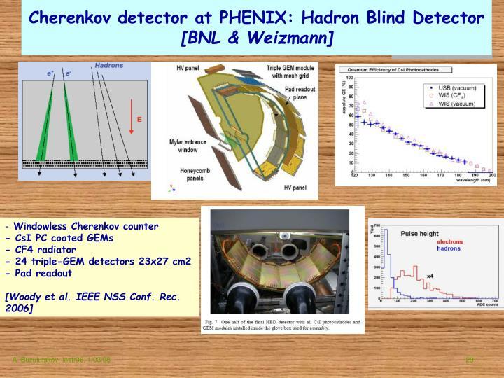 Cherenkov detector at PHENIX: Hadron Blind Detector