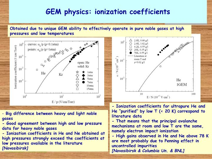 GEM physics: ionization coefficients