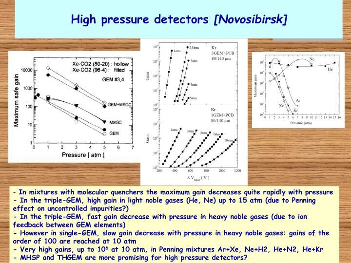 High pressure detectors