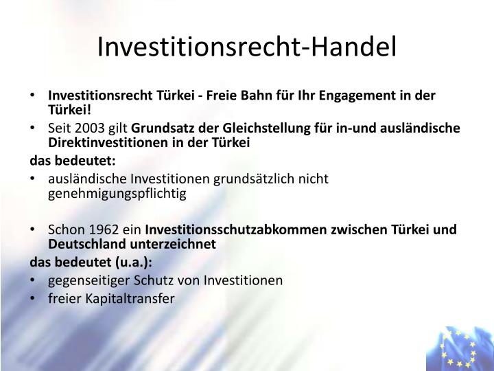 Investitionsrecht-Handel