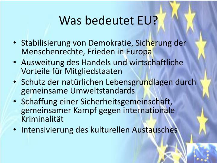 Was bedeutet EU?