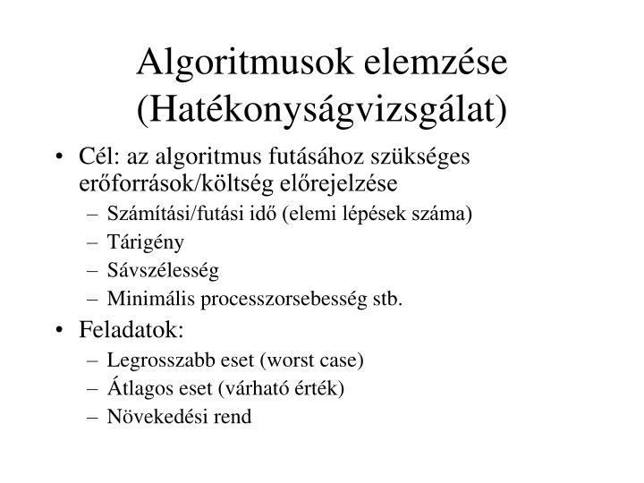 Algoritmusok elemzése (Hatékonyságvizsgálat)