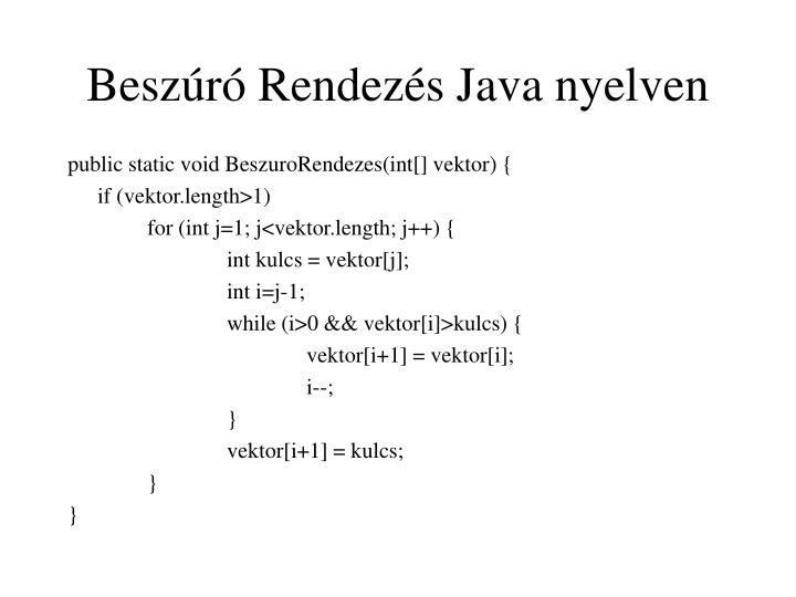 Beszúró Rendezés Java nyelven