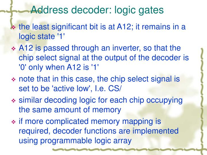 Address decoder: logic gates