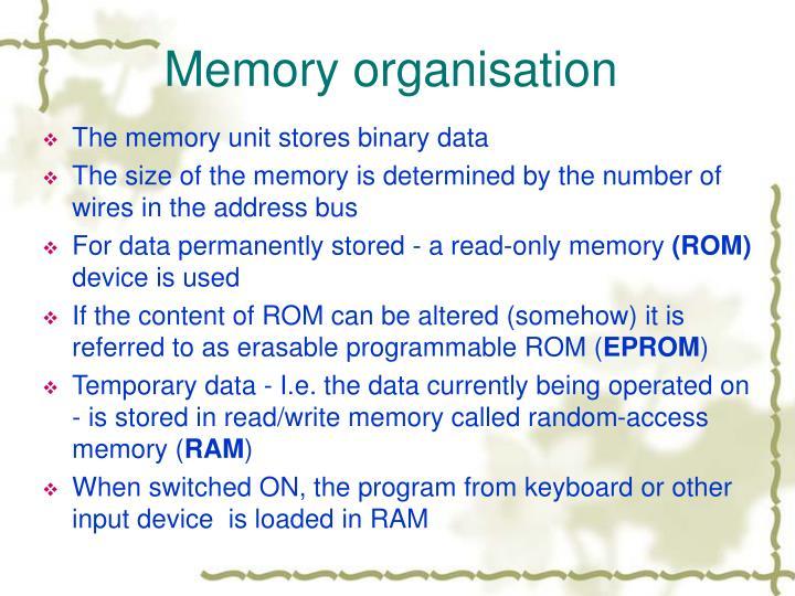 Memory organisation