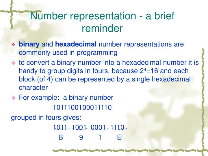 Number representation - a brief reminder