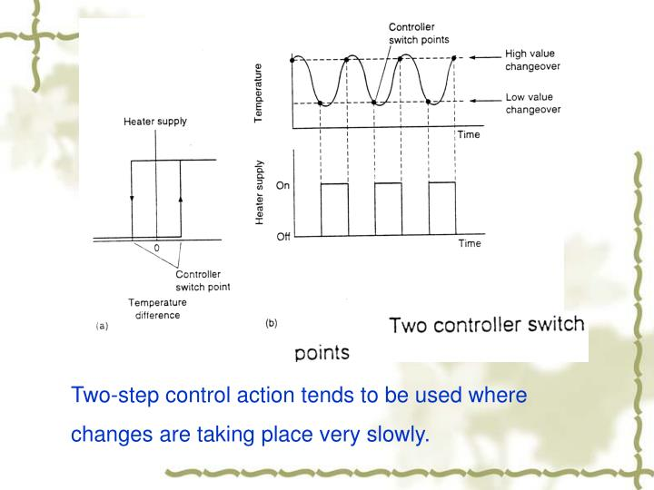 Two-step control action tends to be used where changes are taking place very slowly.