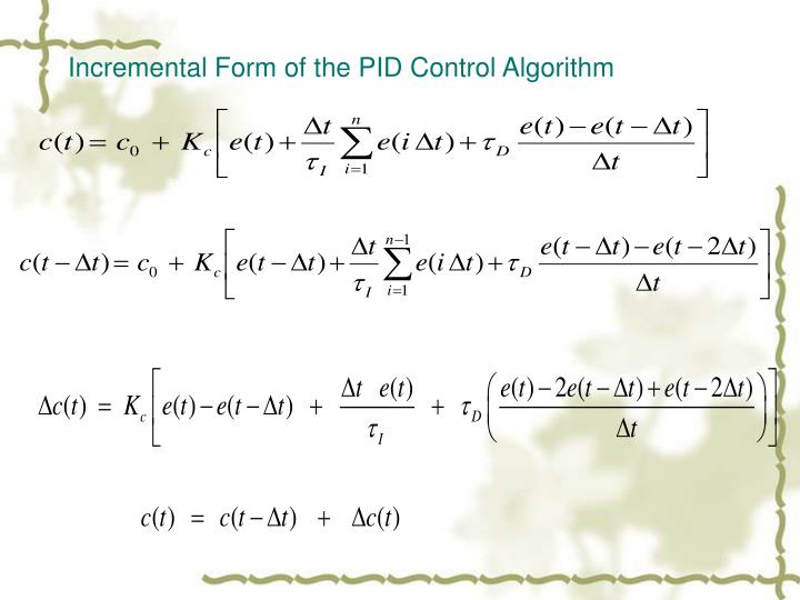 Incremental Form of the PID Control Algorithm