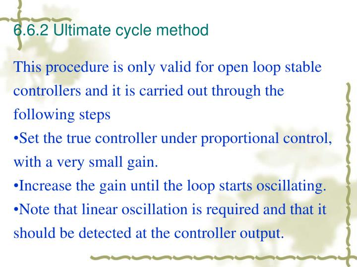 6.6.2 Ultimate cycle method