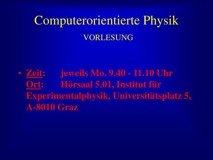 Computerorientierte Physik
