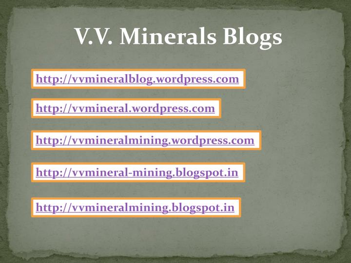 V.V. Minerals Blogs