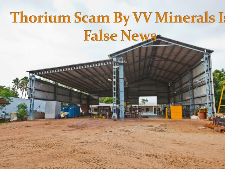 Thorium scam by vv minerals is false news