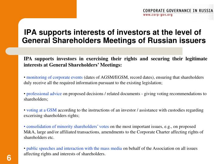 IPA supports interests of investors at the level of General Shareholders Meetings