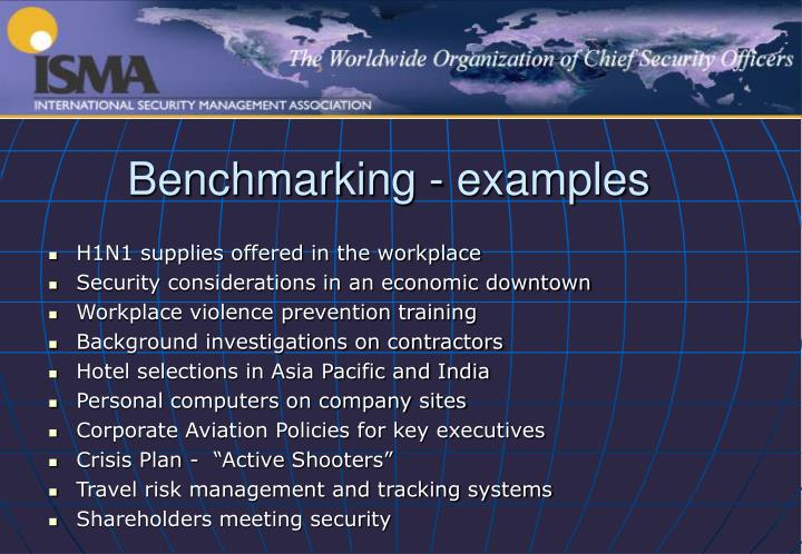 Benchmarking - examples