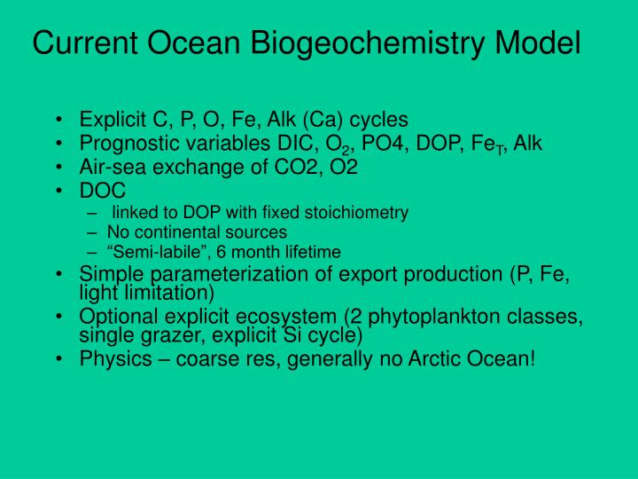 Current Ocean Biogeochemistry Model