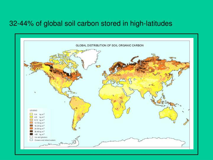 32-44% of global soil carbon stored in high-latitudes