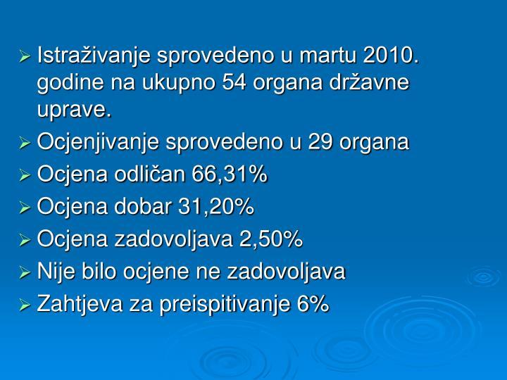 Istraživanje sprovedeno u martu 2010. godine na ukupno 54 organa državne uprave.