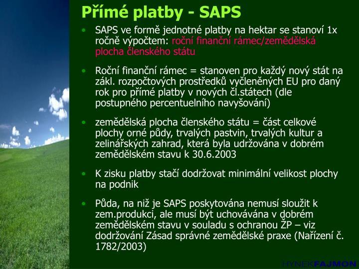 Přímé platby - SAPS