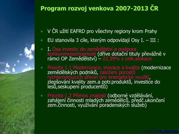 Program rozvoj venkova 2007-2013 ČR