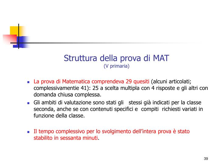 Struttura della prova di MAT