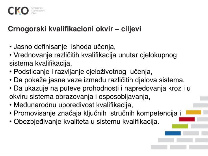 Crnogorski kvalifikacioni okvir – ciljevi