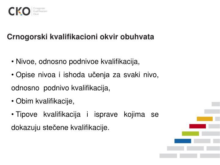Crnogorski kvalifikacioni okvir obuhvata