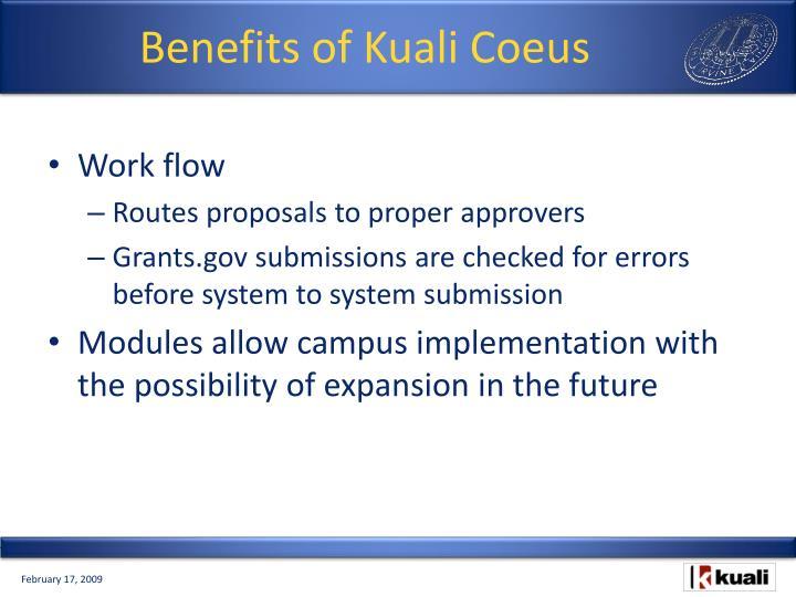 Benefits of Kuali Coeus