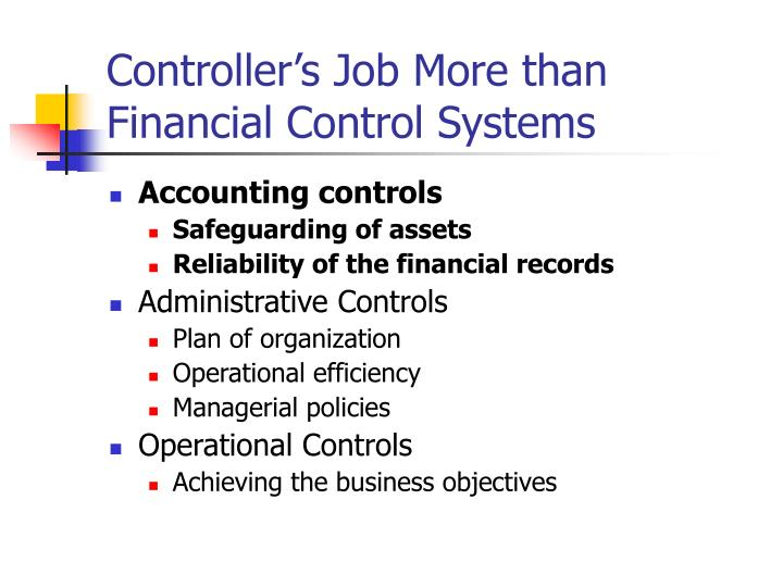 Controller's Job More than Financial Control Systems