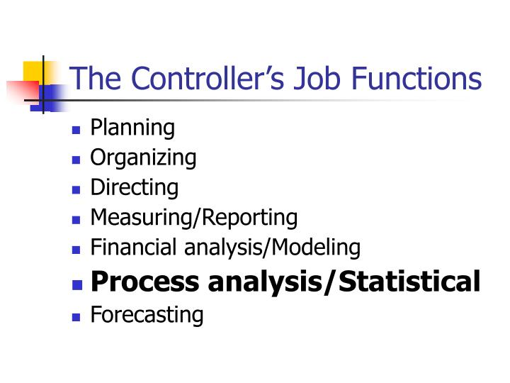 The Controller's Job Functions
