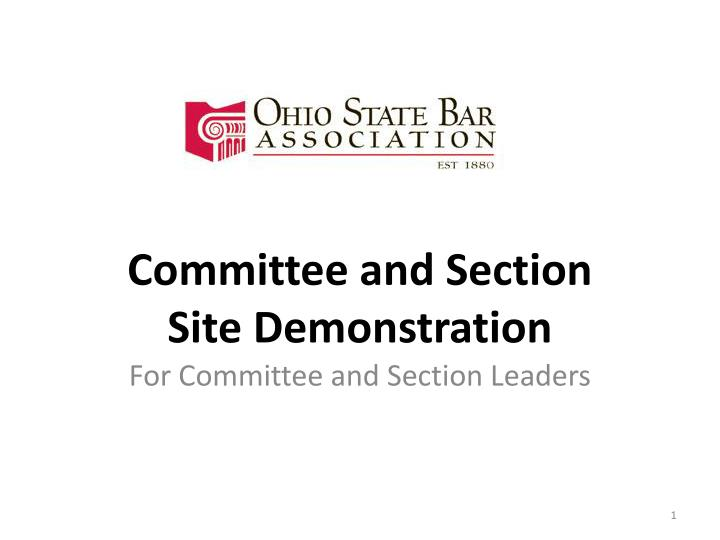 Committee and section site demonstration