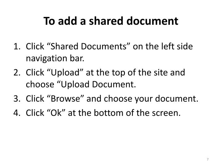 To add a shared document