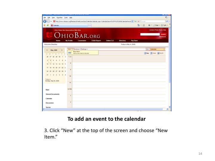 To add an event to the calendar