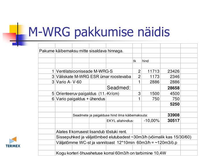 M-WRG pakkumise näidis