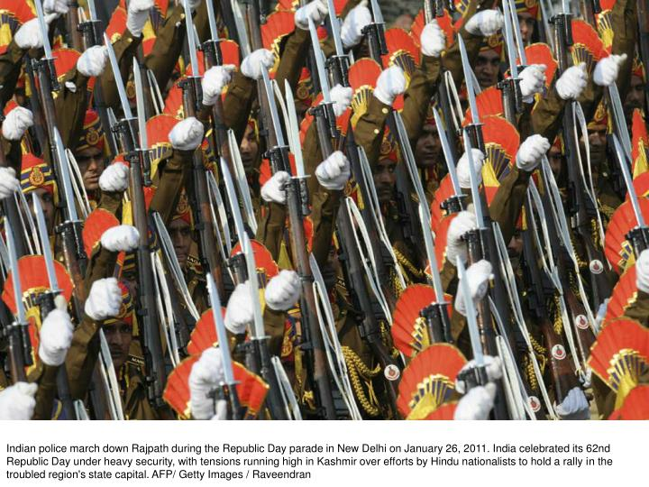 Indian police march down Rajpath during the Republic Day parade in New Delhi on January 26, 2011. In...