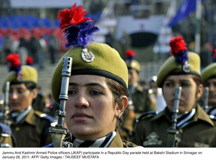 Jammu And Kashmir Armed Police officers (JKAP) participate in a Republic Day parade held at Bakshi Stadium in Srinagar on January 26, 2011. AFP/ Getty Images / TAUSEEF MUSTAFA