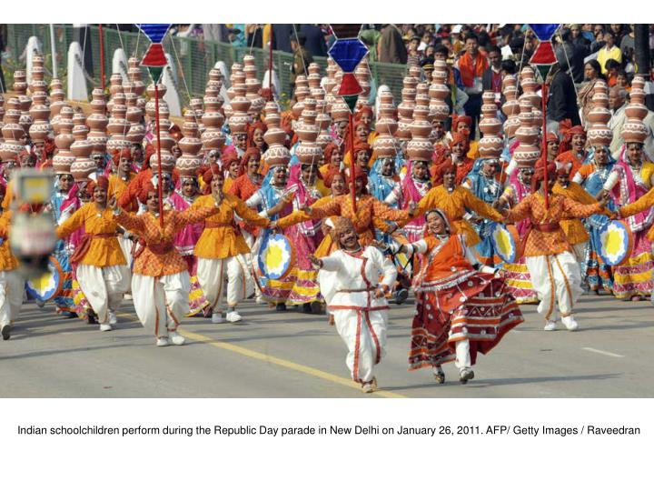 Indian schoolchildren perform during the Republic Day parade in New Delhi on January 26, 2011. AFP/ Getty Images / Raveedran