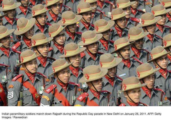 Indian paramilitary soldiers march down Rajpath during the Republic Day parade in New Delhi on January 26, 2011. AFP/ Getty Images / Raveedran