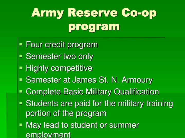 Army Reserve Co-op program