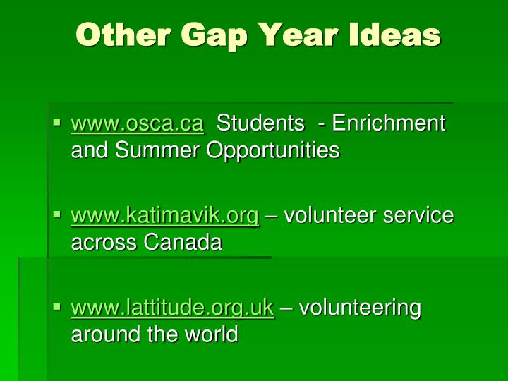 Other Gap Year Ideas