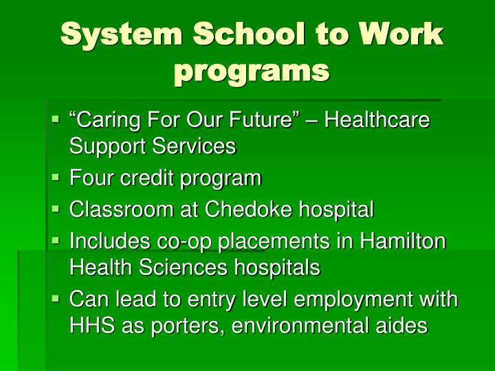 System School to Work programs