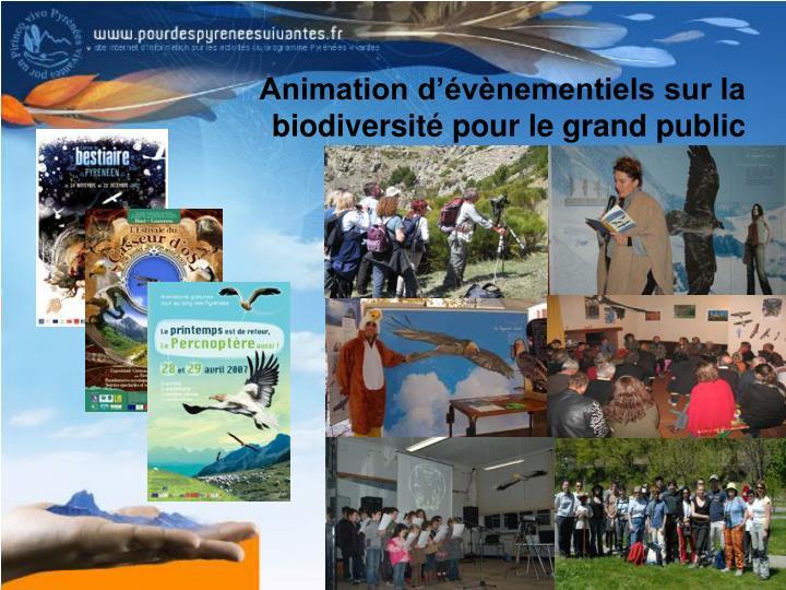 Animation d'évènementiels sur la biodiversité pour le grand public